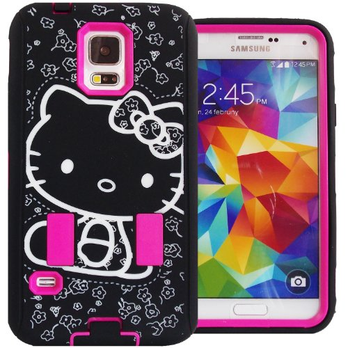 Cute Generic Hello Kitty Hybrid Women & Teen Girls Protector Case for Samsung Galaxy S5 Hot Pink Black & White Shockproof AntiShock Anti-Slip Bow Strong Girly Protective Skin Dual Layer Heavy Duty Non Slip 2 in 1 Silicone Rubber Gel & Slim Thin Hard Cover with Anti-Bubble Screen Protector & Stylus FREE GIFT HELLO KITTY PRINCESS KITTY STICKER