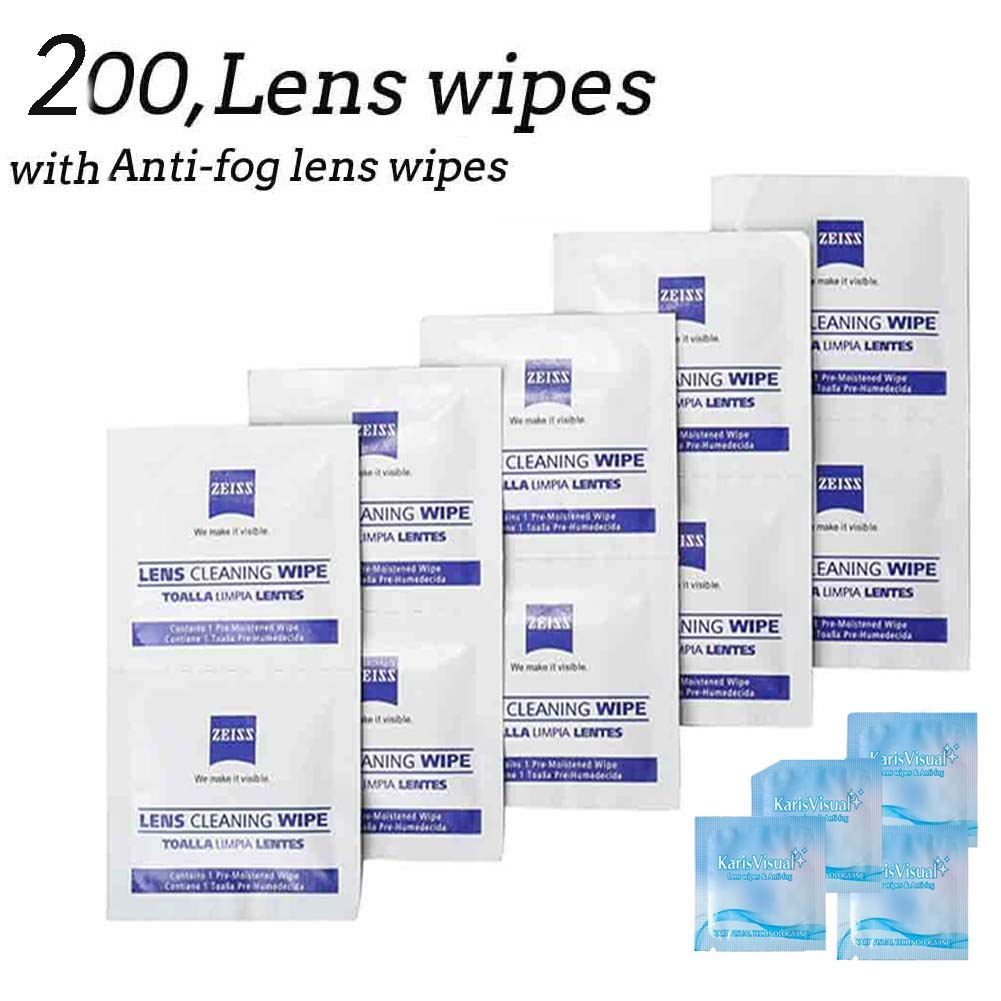 Lens Wipes - Suitable for Eyeglasses, Cellphones, Tablets, Camera Lenses, Swim Goggles, and Other Delicate Surfaces -Pre-Moistened,200 Individually Wrapped
