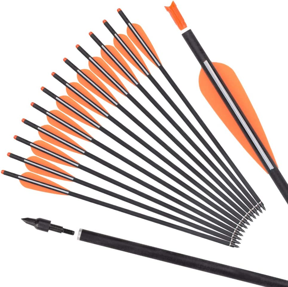 "16/""//18/""//20/"" Crossbow Bolts Archery Pure Carbon Arrow Shaft Broadhead Tip Nock"