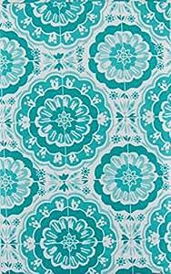 "Bursting Blooms of Blue Vinyl Flannel Back Tablecloth with Zipper Umbrella Hole (52"" x 70"" Oblong)"