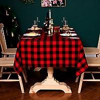 مفرش طاولة مربع منقوش من القطن من YISK (140x220 سم، مقاعد 6-8 أشخاص) للعشاء أو التجمعات العائلية، حفلات داخلية أو خارجية…