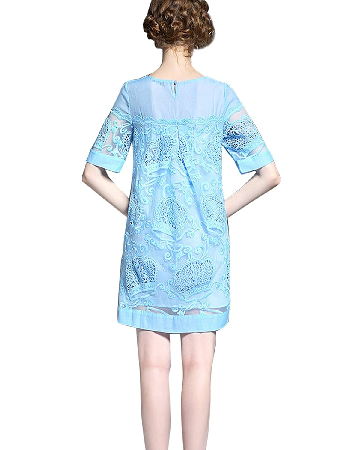 Dahlia Women's Petite Short Sleeve Crown Lace Tunic Dress, Blue