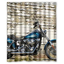 "Harley Davidson FXDCI Dyna Custom 100% Polyester Shower Curtain 60"" x 72"""