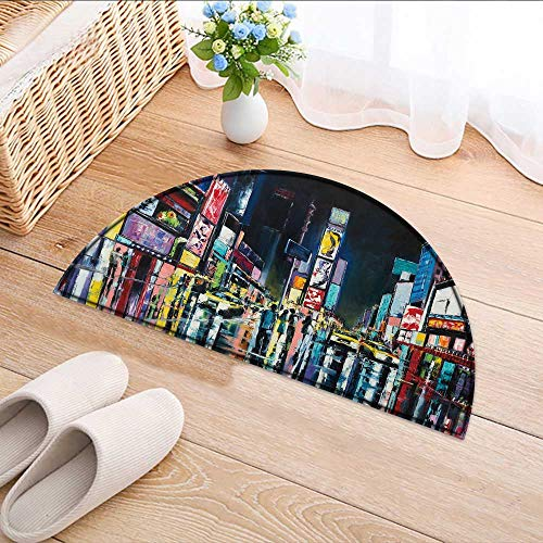 Semicircle Area Rug New York Original Oil Paint a Night New York Times Square Living Dinning Room & Bedroom Rugs W24 x H16 INCH ()