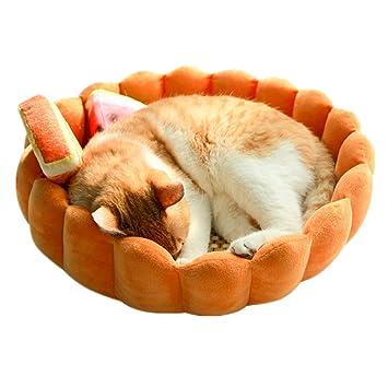 CXYP Gato Cama Naranja Calabaza con Dormir Alfombrilla (bambú), bambú, Suave,