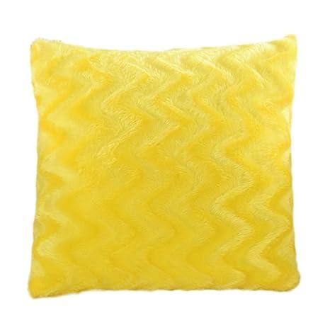 Westeng 1 pcs Funda de cojín de Felpa Ondulaciones del agua Funda de almohada Amortiguador Decorativo(con exclusión de almohada) (Amarillo)