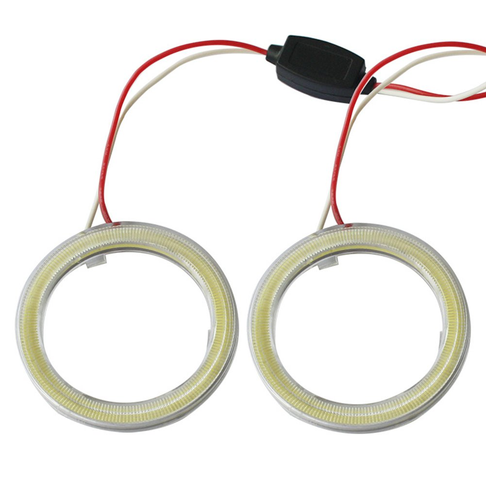 1-Pair TABEN Blue 100mm LED Halo Ring 72SMD COB LED Headlight Angel Eyes Bulb Halo Ring Lamp Light with Cover DC12V