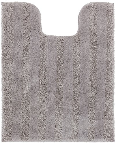 Mohawk Basic Stripe Cloud Burst Plush Striped Washable Bath Contour Toilet Mat, 20x24, Gray (Cloud Shaped Rug)
