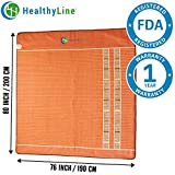 HealthyLine Infrared Heating Mat - Relieve Pain, Sore Muscles, Arthritis and Injury Recovery (Soft)|Natural Amethyst, Jade, Obsidian & Tourmaline Ceramic (King) 80″ x 76″ |US FDA