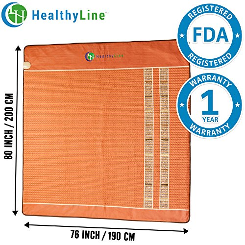 HealthyLine Infrared Heating Mat - Relieve Pain, Sore Muscles, Arthritis and Injury Recovery (Soft) Natural Amethyst, Jade, Obsidian & Tourmaline Ceramic (King) 80″ x 76″  US FDA by HealthyLine (Image #6)