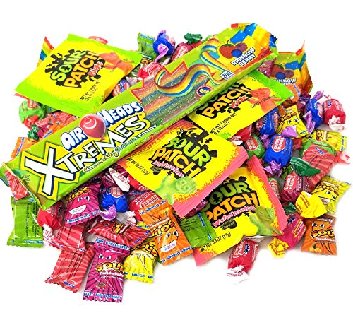 Assorted Flavor Sour Candy Party Mix Box, Bulk Pack 4 lbs, Individually Wrapped Candies Like Sour Patch, Dubble Bubble Gum, Air Heads Xtremes, -