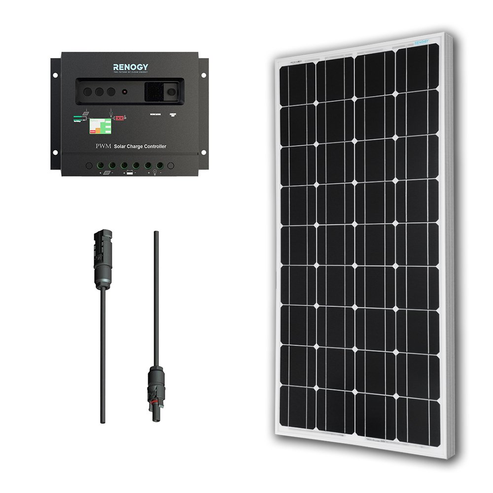 Renogy 100 Watts 12 Volts Monocrystalline Solar Panel Bundle Kit with 30A Negative ground Charge Controller+9in MC4 Adaptor Kit by Renogy