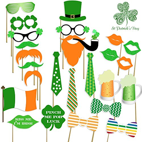 St Patricks Photo Booth Props , Attached, No DIY Required, Party Decorations Photo Booth Props Irish Day Mustaches