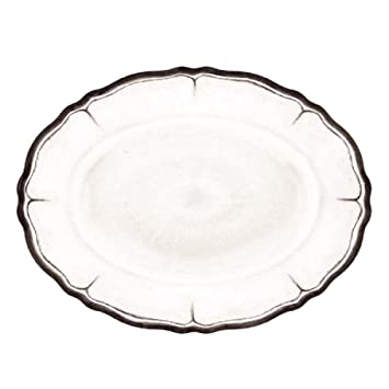 """Le Cadeaux Rustica envejecido Nero Coupé bandeja ovalada, 16 """", color blanco"""