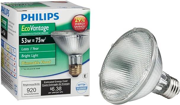 Philips Halogen Dimmable Par30s Flood Light Bulb 2860 Kelvin 53 Watt 75 Watt Equivalent Bright White E26 Medium Screw Base Incandescent Bulbs Amazon Com