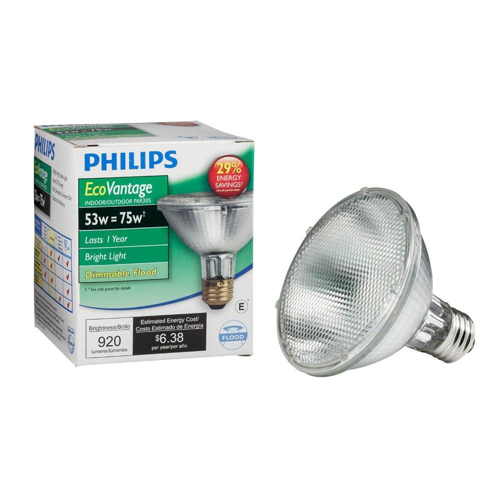 Philips Halogen Dimmable PAR30S Flood Light Bulb: 2860-Kelvin, 53-Watt (75-Watt Equivalent), E26 Medium Screw Base,