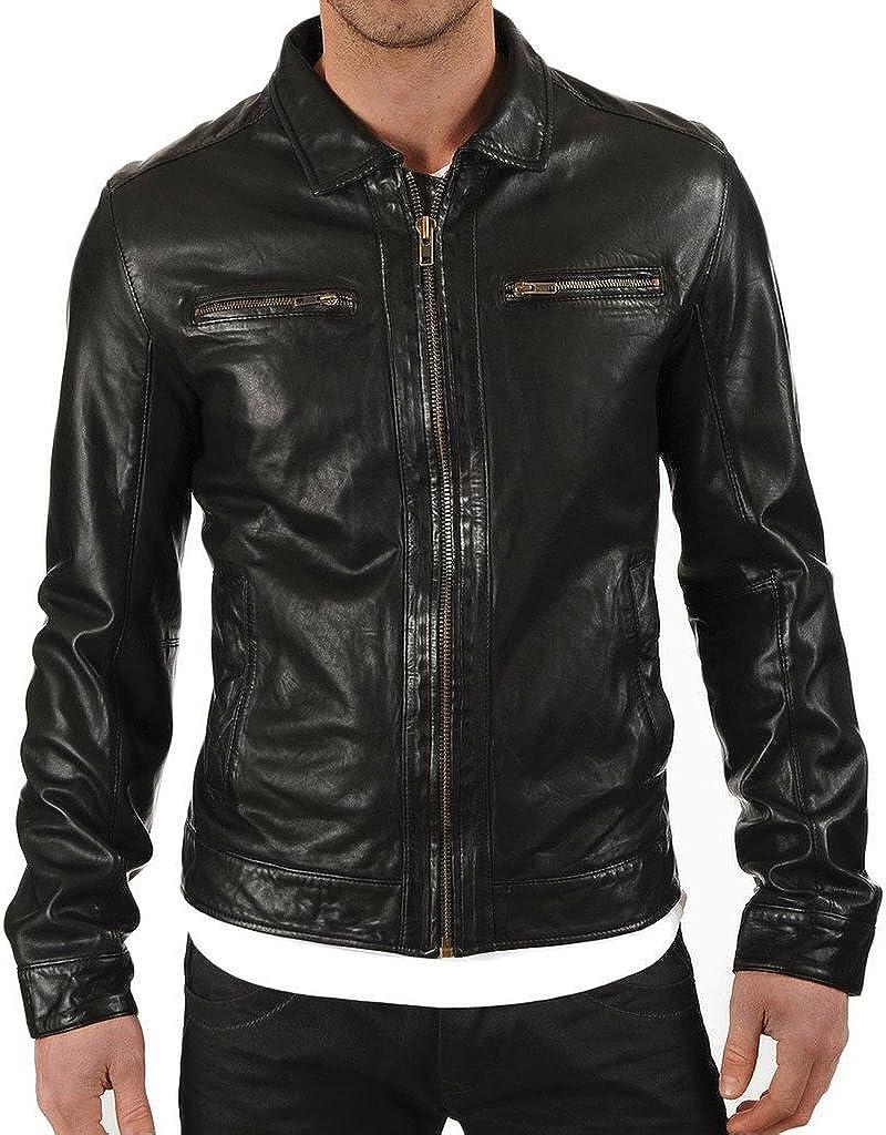 New Mens Designer Slim fit Jacket Lambskin Coat Leather Jacket KL512