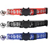 """Breakaway Cat Collar with Bell - SCENEREAL Reflective Cute Safe Outdoor Safety Cat Collars Set of 3 Paw Pattern Design Adjustable from 8-11"""" Red Black and Blue"""