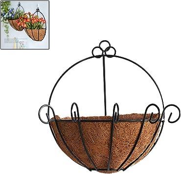 Blumenampel Metall Kokos Hanging Basket Hängeampel  grün mit Kette und Haken