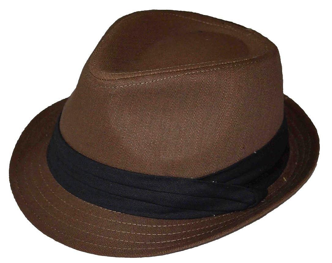 MLN Men's Cotton Fedora Black Band Brown