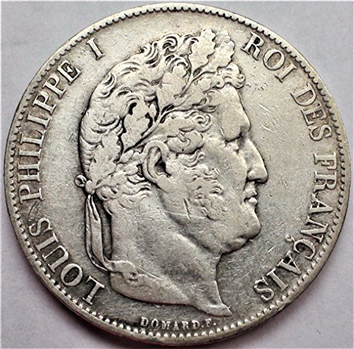 FR 1832-48 European King Louis Philippe I of France Antique Crown Silver Coin 5 Francs Good