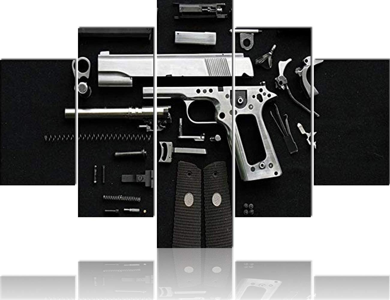 Amazon Com Home Decor In Black And White Extra Big Wall Pictures For Living Room Gun Accessories Canvas Art Military Painting Handgun 5 Piece Artwork Modern Giclee Stretched Ready To Hang 60 Wx40 H Posters