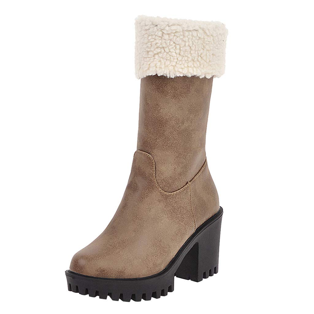 Women Boots,Fheaven Christmas Boots Slim High Boots Mid Calf Boots Platform High Heels Shoes Khaki by Fheaven-shoes