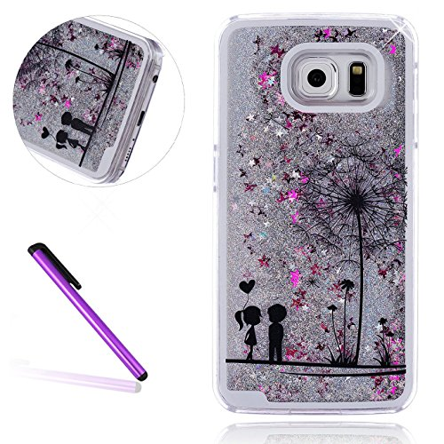 S7 Edge Case Samsung Galaxy S7 Edge Case for Girls EMAXELER 3D Creative Design Angel Girl Flowing Liquid Floating Bling Shiny Liquid PC Hard Case for Samsung Galaxy S7 Edge Silver Couple Dandelion