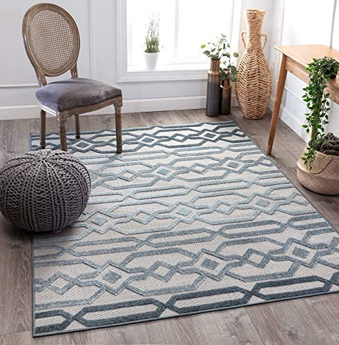 Well Woven Ilyana Blue Moroccan Tribal Diamond Stripes Area Rug 8×10 7 10 x 9 10