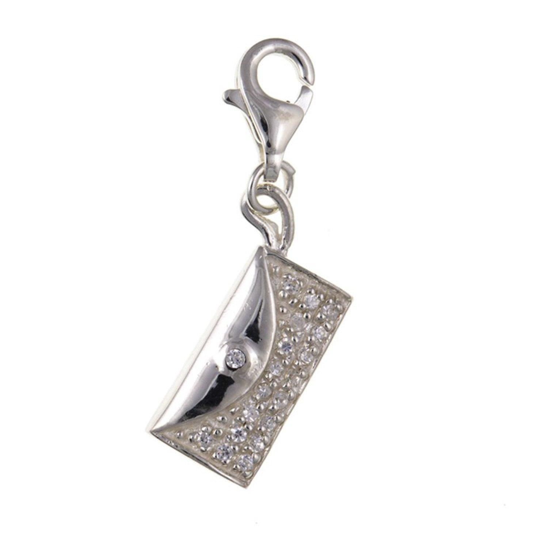 En zircone cubique Pochette-Breloque à Clip en argent Sterling 925 et pendentif breloque Charm de Style Thomas Sabo-livré dans pochette cadeau M & M Jewellery BU2390-ID-M&M-CHRM