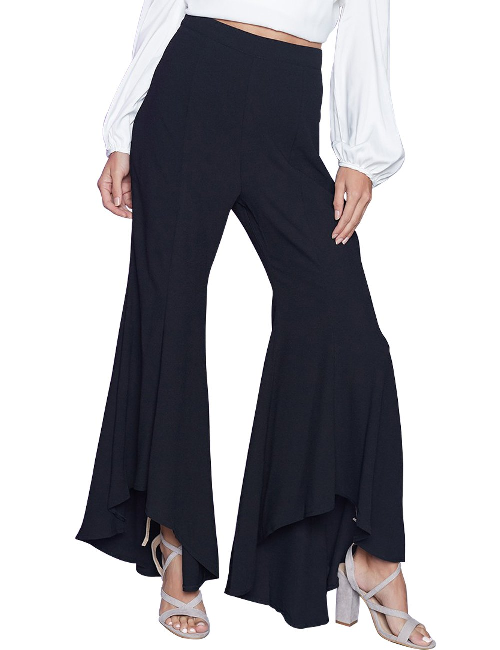 Just Quella Women's Split Hem Wide Leg Long Palazzo Pants 8498 (M, Black 2)