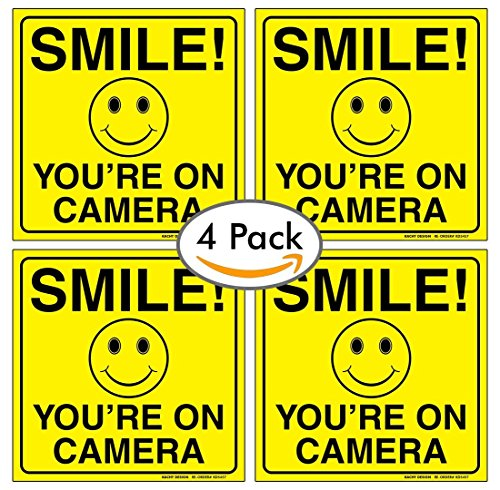 (Set of 4) Smile You're On Camera Sign - 6' x 6' - 4 Mil Vinyl - LAMINATED For Ultimate Protection & Durability - Self Adhesive Decal - UV Protected & Weatherproof - Heavy Duty