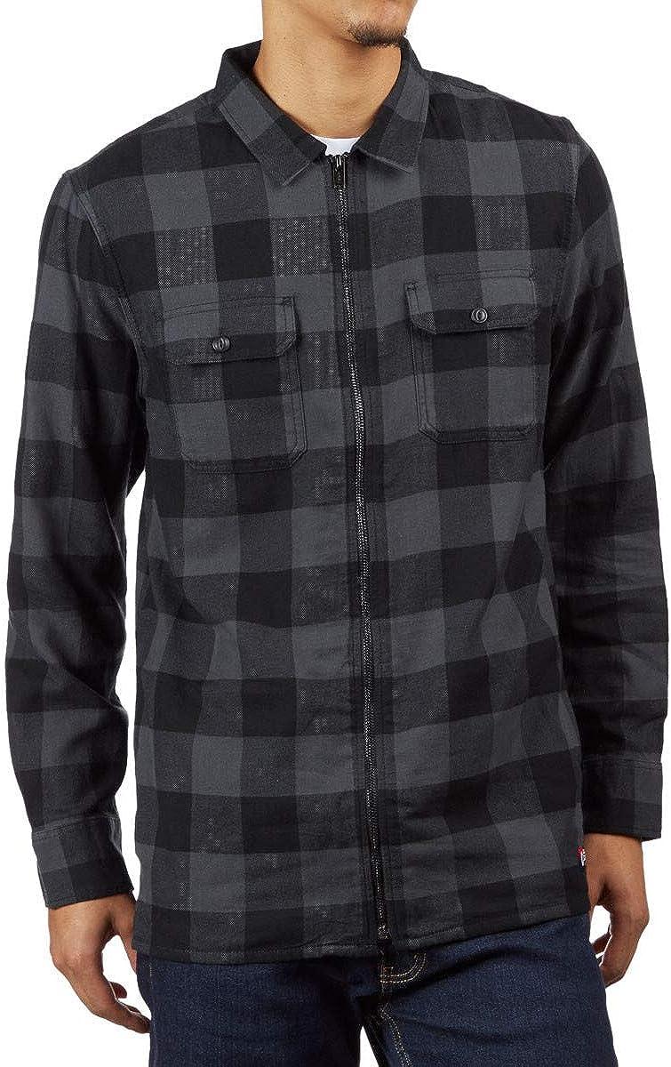 Vans X Independent Mens Zip Flannel Shirt Asphalt Vn0A3Hld1O7