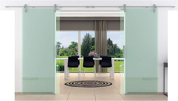 Doble de puerta corredera de cristal 1550 x 2050 mm transparente cristal levidor® Acero inoxidable Sistema de Rieles unidad Completo/unidad tubos caracola y asas Puerta Corredera de Cristal para interiores de cristal