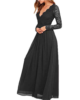 f53937cb7e7 JQLD Women s Sexy V Neck Lace Chiffon Long Sleeve Bridesmaid Dresses Formal  Prom Evening Gown Black
