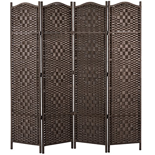 - MyGift Freestanding Bamboo Woven Textured 4-Panel Partition Room Divider Folding Privacy Screen, Dark Brown