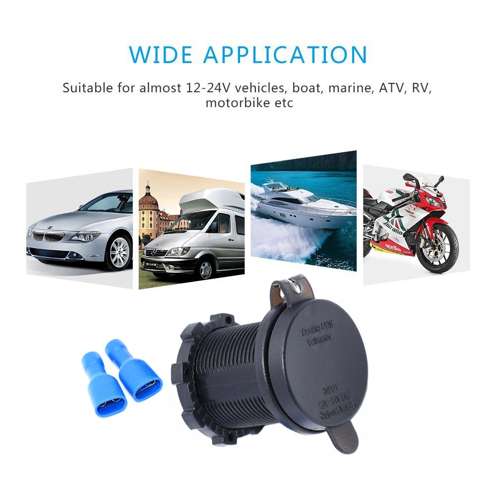 Red 5031N-RE Cllena Dual Port USB Charger Socket Power Outlet 2.1A /& 2.1A with LED Voltmeter for Car Boat Marine Motorcycle Mobile