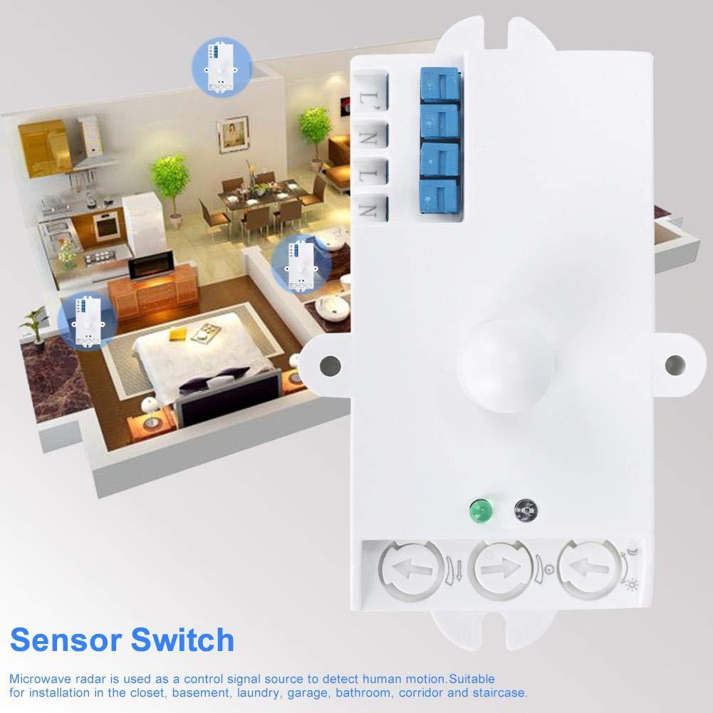 Wifehelper Interruptor de Sensor de microondas SK-806 5.8GHz Sensor de Radar de microondas Cuerpo Detector de Movimiento Interruptor de luz 220-240V