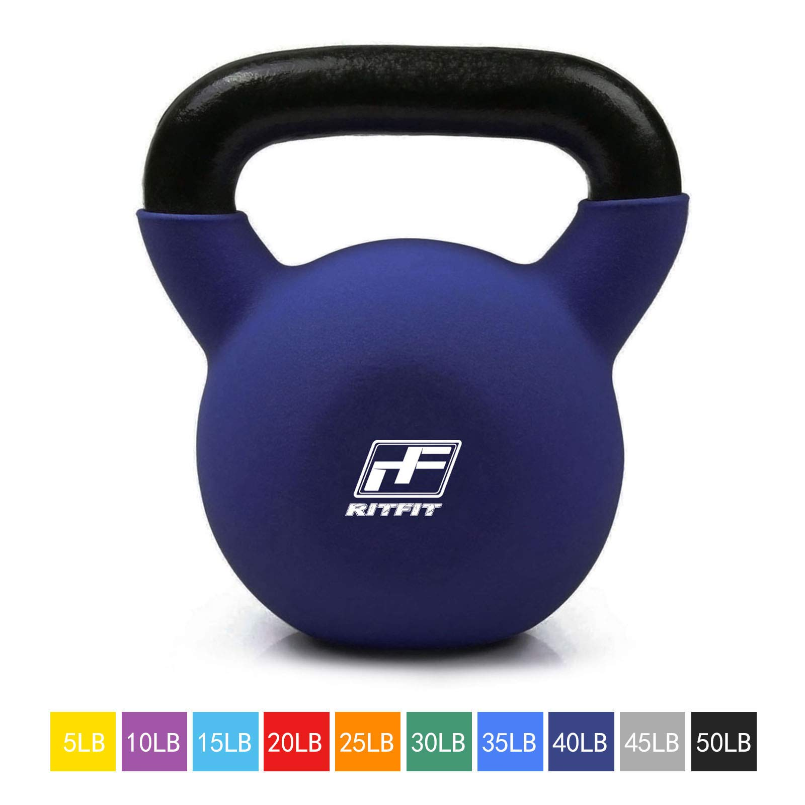 RitFit Neoprene Coated Solid Cast Iron Kettlebell - Great for Full Body Workout, Cross-Training, Weight Loss & Strength Training (5/10/15/20/25/30/35/40/45/50 LB) (40LB(Cyan))