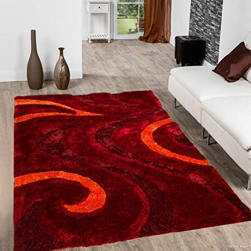 Allstar 8X11 Burgundy Modern and Contemporary Hand Carved Rectangular Shag Accent Rug with Red and Orange Abstract Swirl Design 7 5 x 10 5
