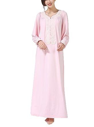 Topfly reg  Vintage Pregnant Nightgown Floor LCE Long Sleeve Pleated  Sleepwear Dress Pink US ... 2b21c14b0