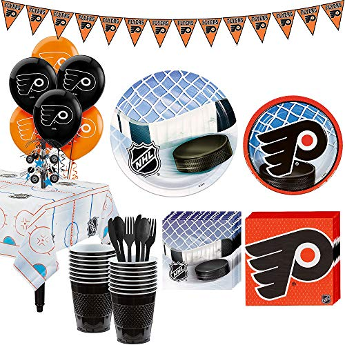 Party City Super Philadelphia Flyers Party Kit for 16 Guests, Includes Table Cover, Decorations and Tableware -