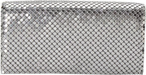 Jessica McClintock Metal Mesh Roll Bag, Silver