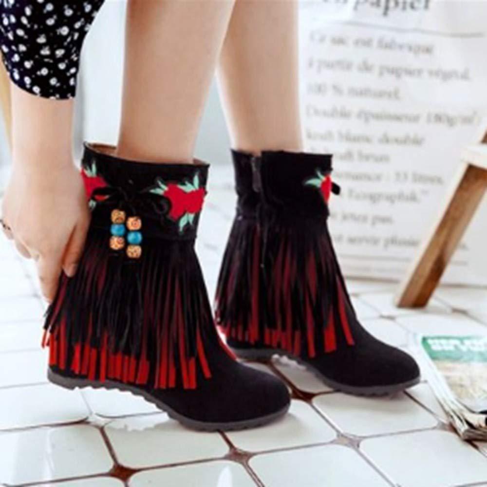 YSFU Stiefel Frauen Stiefelies Quaste Dekorative Quadratische Ferse Schuhe Anti Anti Anti Slip Damen Stiefel Casual Herbst Winter Outdoor 225406
