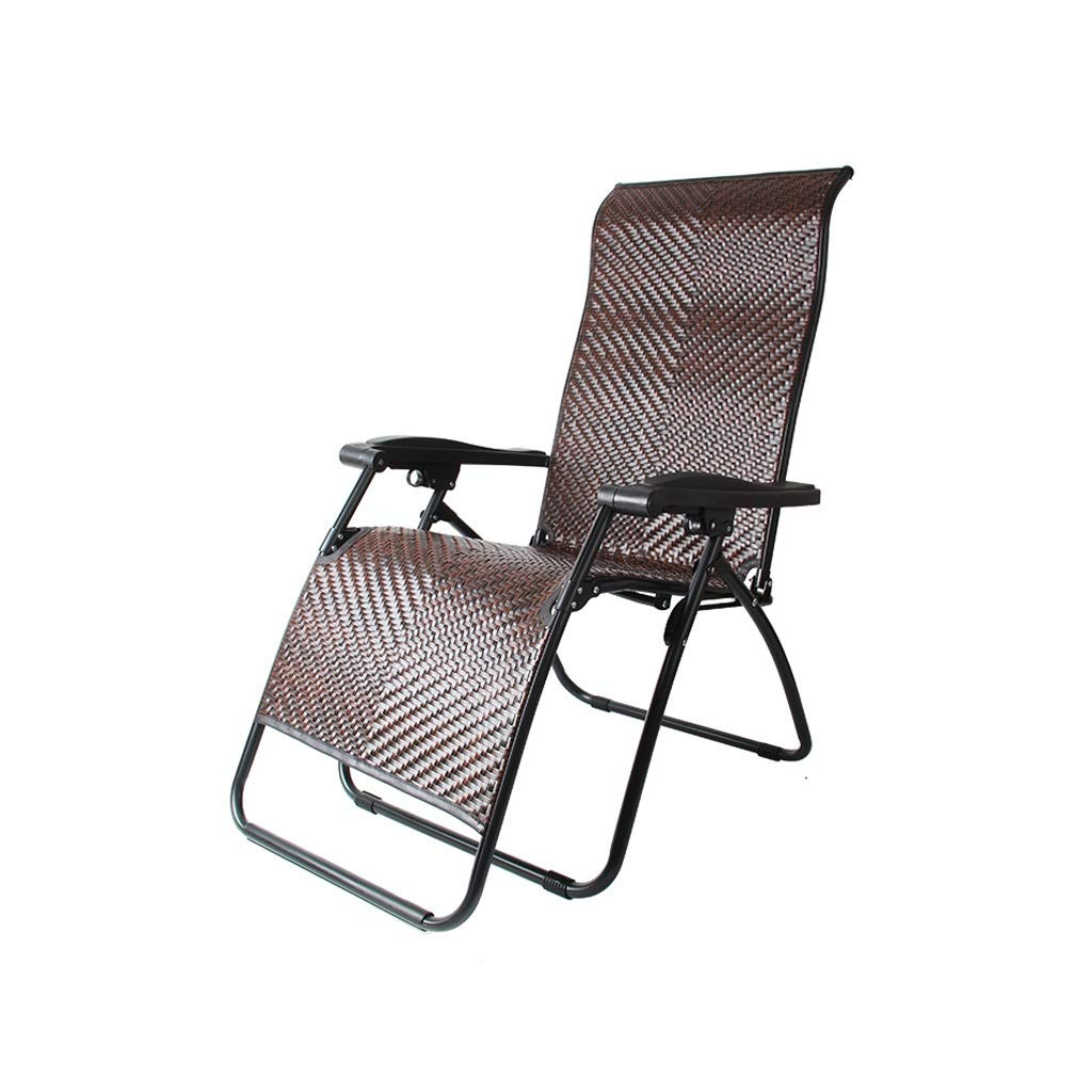 YYTLTY Wicker Chair Reclining Lawn Chair, Zero-Gravity Chair, Adjustable for Seat and Recliner, for Terrace Outings and Picnics Easy to Use (Color : Brown) by YYTLTY
