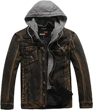 メンズジャケット、メンズデニムコート暖かい冬の綿フード付きカジュアルコートを厚く