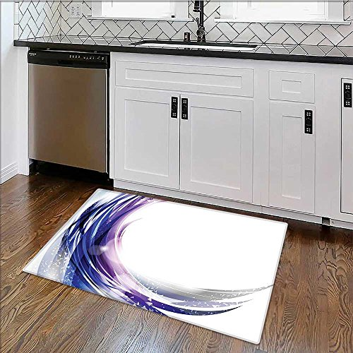 Soft Microfiber Shag Bath Rug Wave like Design with Bright Dots Blue and White Weather-Proof and Mold W34