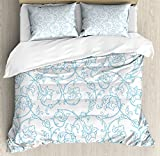 Ambesonne Floral Duvet Cover Set King Size, Flower Orchids Bohemian Style Vintage Petals Vines Pattern French Country Style, Decorative 3 Piece Bedding Set with 2 Pillow Shams, Blue White