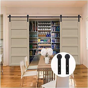 LWZH 8.2FT/250cm Herraje para Puerta Corredera Kit para Puertas Dobles,Negro J-Forma: Amazon.es: Bricolaje y herramientas