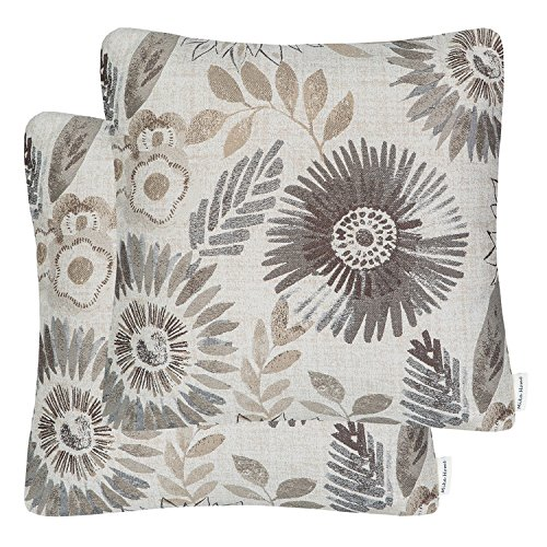 Mika Home Pack of 2 Decorative Throw Pillows Cases Cushion Cover for Sofa Couch Bed,Sunflower Pattern,20x20 Inches,Grey Cream (Ikea Floral Throw Pillow)